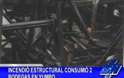 Incendio consumió dos bodegas en Yumbo