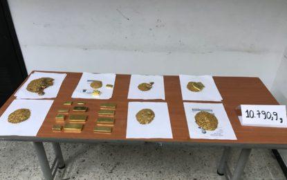 Mil millones de pesos en oro incautados en el aeropuerto de Cali