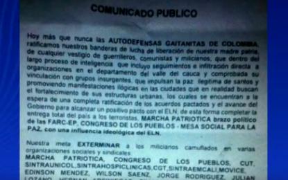 Panfleto amenazante contra la vida de líderes sindicales del Valle del Cauca