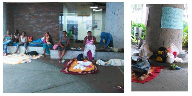 Damnificados del incendio del sector 'La Playita' acampan en las afueras de la Secretaria de Vivienda