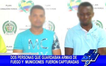 Dos hombre que guardaban armas de fuego fueron capturados en la vía Buenaventura-Cali