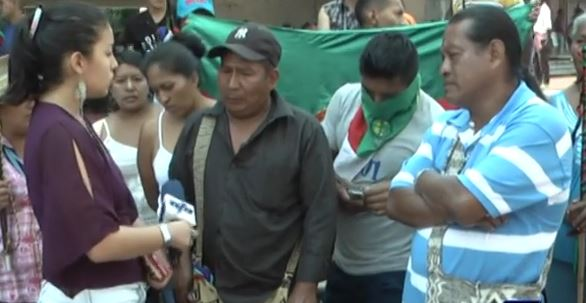 Comunidad Nasa protesta en Cali, pidiendo ser reconocidos como cabildo indígena