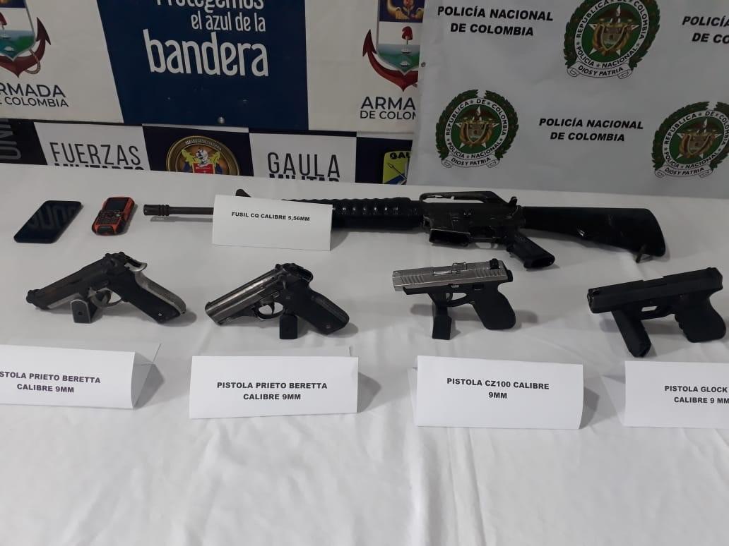 A la cárcel 4 sujetos capturados con material de guerra en Buenaventura