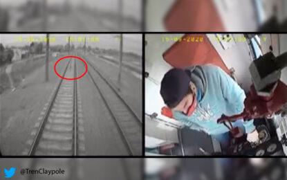 Viral: niño que jugaba en los rieles del tren se salvó de morir arrollado