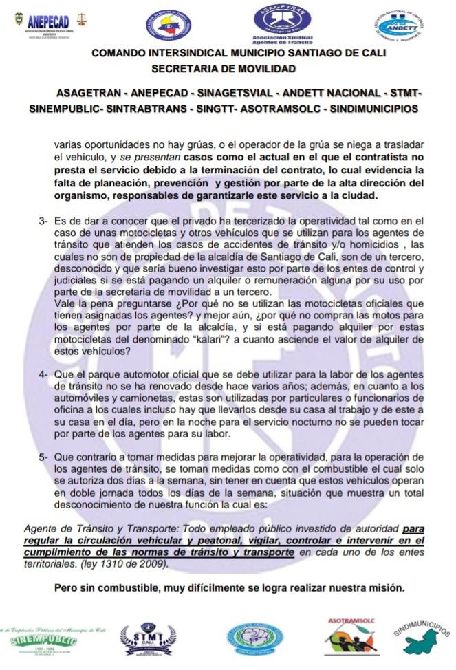 Condiciones laborales complicadas para los agentes de tránsito en Cali - Noticias de Colombia